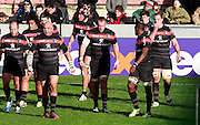 Gary Botha, Census Johnston, Guthro Steenkamp, Patricio Albacete, Romain Millo-Chulski, Yannick Nyanga , Luke Burgess and Louis Picamoles walk back to the they line as Ospreys are awarded a penalty. Stade Toulousain v Ospreys, Heineken Cup, Stade Ernest Wallon, Toulouse, France, 8th December 2012.