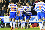 Reading defender Jake Cooper congratulates Reading forward Nick Blackman on his goal during the Sky Bet Championship match between Reading and Bristol City at the Madejski Stadium, Reading, England on 2 January 2016. Photo by Jemma Phillips.