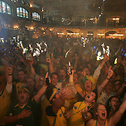 soccer world cup germany Socceroos  Australian and Brazilian fans sing along to an Australian cover band at the Lowenbrau Cellar party for Australian fans in Munich organised by the FFA  Story John Huxley  180606 Tim Clayton SMH sport