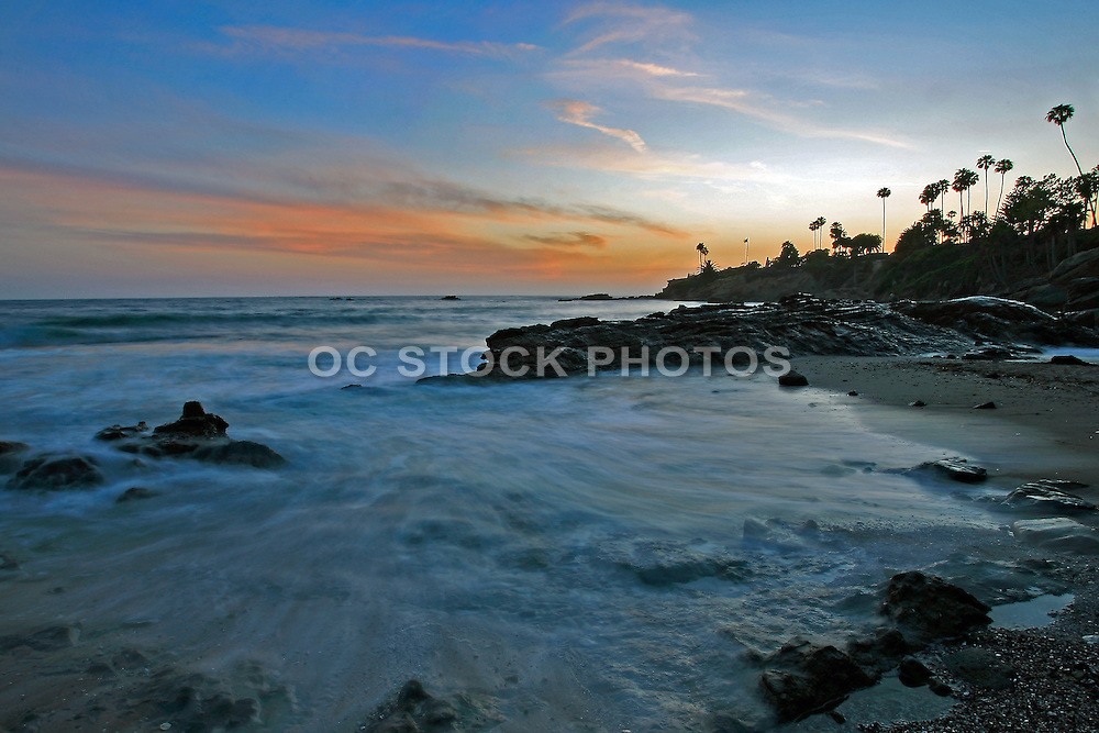 Sunset Across the Rocky Laguna Beach California Coastline