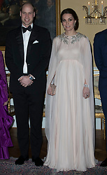 The Duke and Duchess of Cambridge attend a dinner held at the Royal Palace in Oslo. The dinner was also attended by King Harald, Queen Sonja, Prince Haakon, Princess Mette-Marit and Princess Martha Louise.<br />