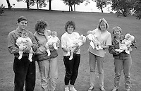 Baby Show up to 6 months l to r; 1st Helena Louise Spiewak and Alicia Jayne Spiewak (twins), Silverwood; 2nd Kylie Turpin, Bentley; 3rd Nicholas Bond, Silverwood; 4th Jenna Mills, Houghton Main. 1990 Yorkshire Miner's Gala. Rotherham.