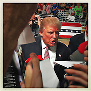 Donald Trump, surrounded by secret service bodyguards works the autograph line after his rally as fans crush to get close to him.<br /> <br /> Donald Trump's primary rally in West Virginia's state capital at the Charleston Civic Center. After Cruz and Kasich bowed out of the race for the Republican Party, Trump, the presumptive Republican election candidate was in West Virginia celebrating a victory lap.<br /> Trump has promised to re-open closed coal mines and get miners back to work, a very popular platform in this coal state which is one of the nation's poorest.