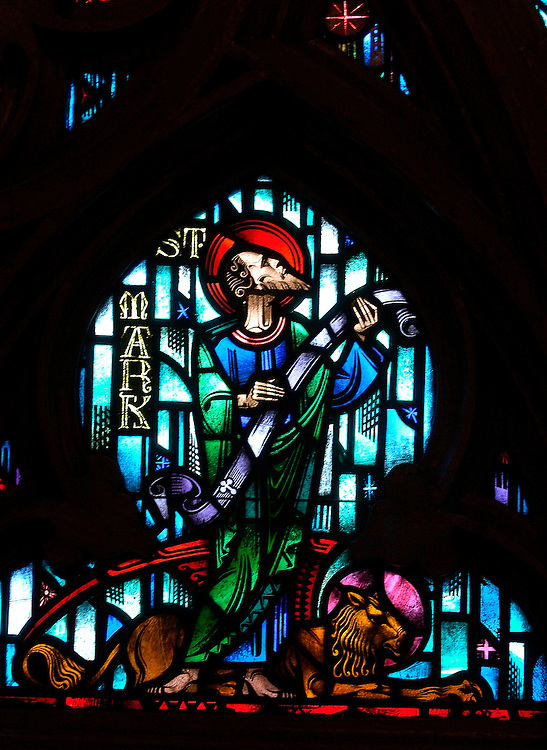 ST. MARK -- A stained glass image of St. Mark is pictured above the front entry of Gesu Church on the Marquette University campus in Milwaukee. (Photo by Sam Lucero)