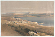 City of Tiberias on the Sea of Galilee, looking towards Mount Hermon Color lithograph by David Roberts (1796-1864). An engraving reprint by Louis Haghe was published in a the book 'The Holy Land, Syria, Idumea, Arabia, Egypt and Nubia. in 1855 by D. Appleton & Co., 346 & 348 Broadway in New York.