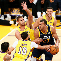 10 October 2017: Los Angeles Lakers guard Tyler Ennis (10), Los Angeles Lakers center Brook Lopez (11) defend on Utah Jazz center Rudy Gobert (27) during the Utah Jazz 105-99 victory over the LA Lakers, at the Staples Center, Los Angeles, California, USA.