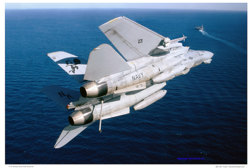 F-14 on initial approach to aircraft carrier
