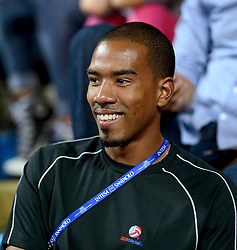 25-09-2014 ITA: World Championship Volleyball Nederland - USA, Verona<br /> Nederland verliest met 3-0 van team USA / Triple jump Olympic champion Christian Taylor