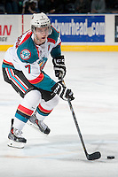 KELOWNA, CANADA - MARCH 22: Damon Severson #7 of the Kelowna Rockets skates with the puck against the Tri-City Americans on March 22, 2014 during game 1 of the first round of WHL Playoffs at Prospera Place in Kelowna, British Columbia, Canada. Severson is a 2012 NHL entry draft pick of the New Jersey Devils.  (Photo by Marissa Baecker/Getty Images)  *** Local Caption *** Damon Severson;