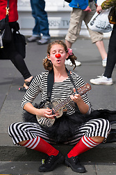 Street performer on High Street during Edinburgh Fringe Festival 2016 in Scotland , United Kingdom