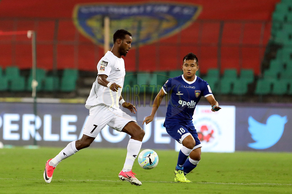 Odair Junior lopes Fortes of Northeast United FC   and Jerry Lalrinzuala of Chennaiyin FC  in action during match 6 of the Hero Indian Super League between Chennaiyin FC and NorthEast United FC held at the Jawaharlal Nehru Stadium, Chennai India on the 23rd November 2017<br /> <br /> Photo by: Arjun Singh  / ISL / SPORTZPICS
