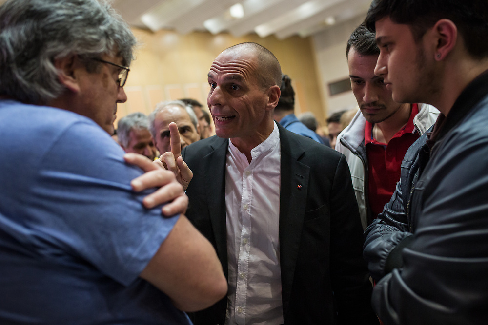 Yanis Varoufakis chats with people after the competion of the central event of the DiEM25 political movement at Vellidio Conference Center in Thessaloniki, Greece, on the 29th of April 2017.