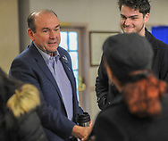 Scott Wallace greets supporters as the Democratic congressional candidate in the first district votes with his family  Tuesday, November 06, 2018 at Buckingham Township Building in Buckingham. [WILLIAM THOMAS CAIN / PHOTOJOURNALIST]