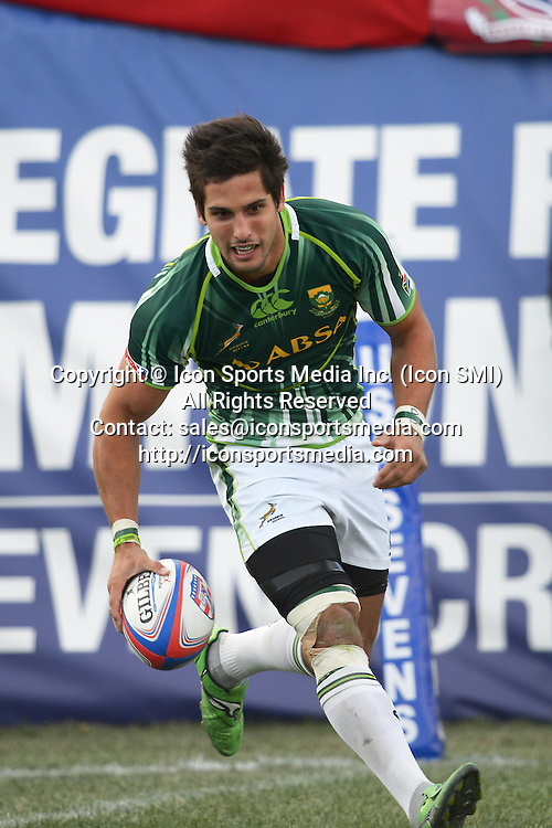 10 February 2013: Stephan Dippenaar (8) of South Africa scores a try in the Cup final of round 5 of the HSBC Sevens World Series of Rugby at Sam Boyd Stadium in Las Vegas, Nevada. South Africa defeated New Zealand 40-21.
