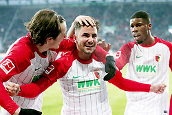 04.02.2018, WWK Arena, Augsburg, GER, 1. FBL, FC Augsburg vs Eintracht Frankfurt, 21. Runde, im Bild Michael Gregoritsch (FC Augsburg #11) Marco Richter (FC Augsburg #23) Kevin Danso (FC Augsburg #38) Jubel nach dem 3:0 // during the German Bundesliga 21th round match between FC Augsburg and Eintracht Frankfurt at the WWK Arena in Augsburg, Germany on 2018/02/04. EXPA Pictures © 2018, PhotoCredit: EXPA/ Eibner-Pressefoto/ Harry Langer<br /> <br /> *****ATTENTION - OUT of GER*****