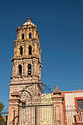 The Baroque façade of the San Agustin Church in the state capital of San Luis Potosi, Mexico. Also known as the Templo de San Agustin, the church was constructed in the 1800's following the attached convent which was completed in 1615.