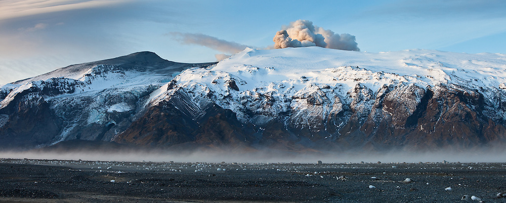 A panorama view of Eyjafjallajökull erupting volcano in south Iceland 2010. <br />