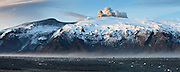 A panorama view of Eyjafjallaj&ouml;kull erupting volcano in south Iceland 2010. <br />