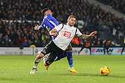 Birmingham City midfielder David Davis challenges Derby County midfielder Bradley Johnson during the EFL Sky Bet Championship match between Derby County and Birmingham City at the iPro Stadium, Derby, England on 27 December 2016. Photo by Aaron  Lupton.