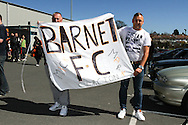 Picture by David Horn/Focus Images Ltd +44 7545 970036.20/04/2013.Barnet fans hold up a banner before Barnet's last game at Underhill Stadium before the npower League 2 match at Underhill Stadium, London.