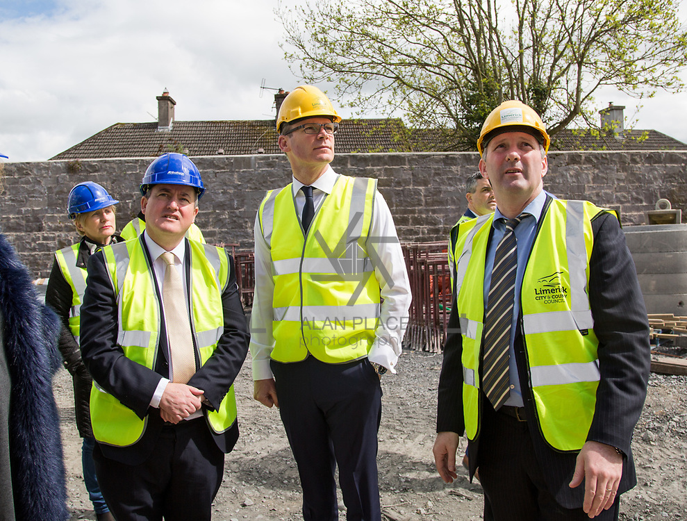 24.04.2017.       <br /> Minister for Housing Simon Coveney visiting the Lord Edward Street site in Limerick, where 81 units for social housing are nearing completion as part of the Limerick Regeneration programme.  57 of which are elderly units (1 and 2 bed apts and 2 bed houses) with the remainder (24) being family homes (3 bed). <br /> <br /> Minister for Housing Simon Coveney (centre) is pictured on site with Senator Kieran O'Donnell (left) and Senior Executive Architect at Limerick City Council, Seamus Hanrahan. Picture: Alan Place.