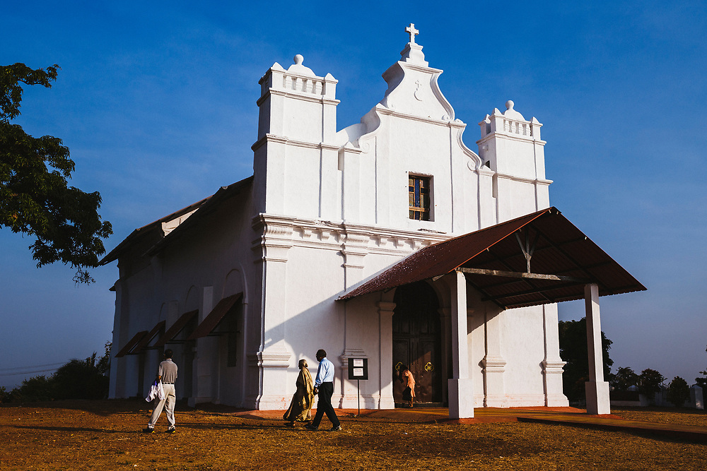 A small church on a hillside, a remnant of the state's Portuguese past, in Goa, India.