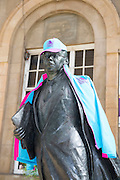 22 September 2016: Hull UK City of Culture 2017 - Season One programme launch and rest of year highlights at Hull Truck Theatre.<br /> The Larkin Statue in City of Culture outfit.<br /> 01482 772651/07976 433960<br /> www.hullnews.co.uk   sean@hullnews.co.uk