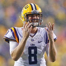 Sep 21, 2013; Baton Rouge, LA, USA; LSU Tigers quarterback Zach Mettenberger (8) celebrates a touchdown against the Auburn Tigers during a game at Tiger Stadium. Mandatory Credit: Derick E. Hingle-USA TODAY Sports