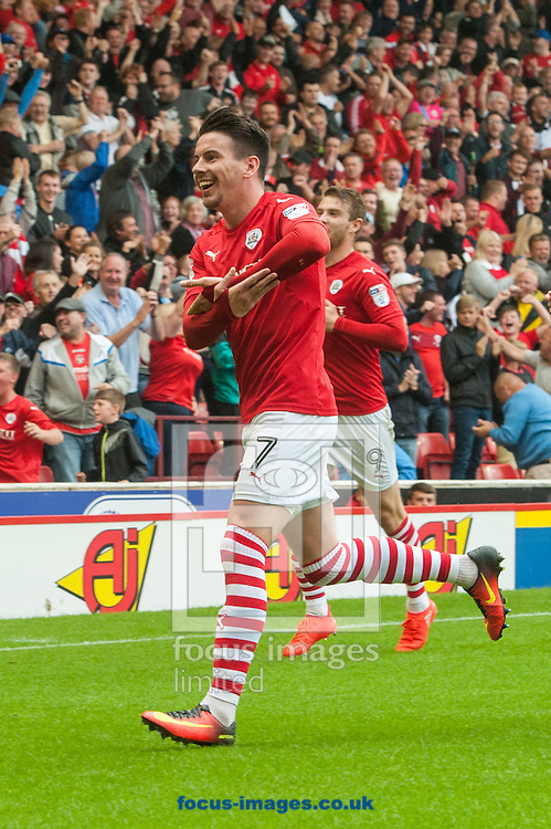 Adam Hammill of Barnsley celebrates after scoring his sides second goal during the Sky Bet Championship match at Oakwell, Barnsley<br /> Picture by Matt Wilkinson/Focus Images Ltd 07814 960751<br /> 27/08/2016