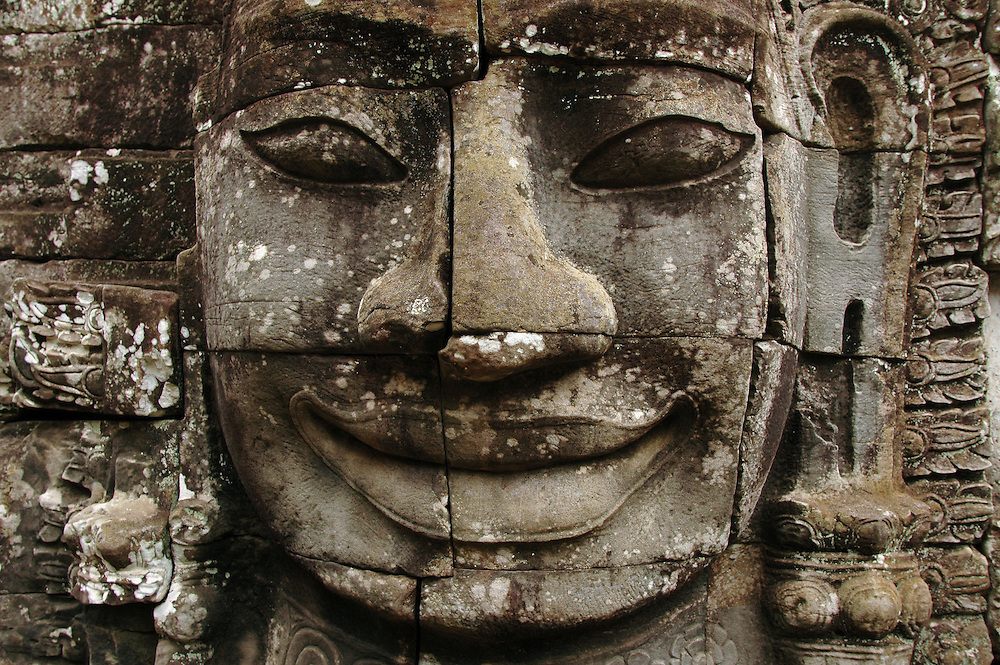 Face at Bayon Temple, Siem Reap, Cambodia.