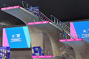 The Diving boards at the Aquatics centre shortly before day 14 of the 33rd  LEN European Aquatics Championship Swimming Finals 2016 at the London Aquatics Centre, London, United Kingdom on 22nd May 2016. Photo by Martin Cole.