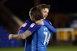Chris Forrester of Peterborough United celebrates with team-mate Jack Marriott at full-time - Mandatory by-line: Joe Dent/JMP - 20/01/2018 - FOOTBALL - ABAX Stadium - Peterborough, England - Peterborough United v Oldham Athletic - Sky Bet League One