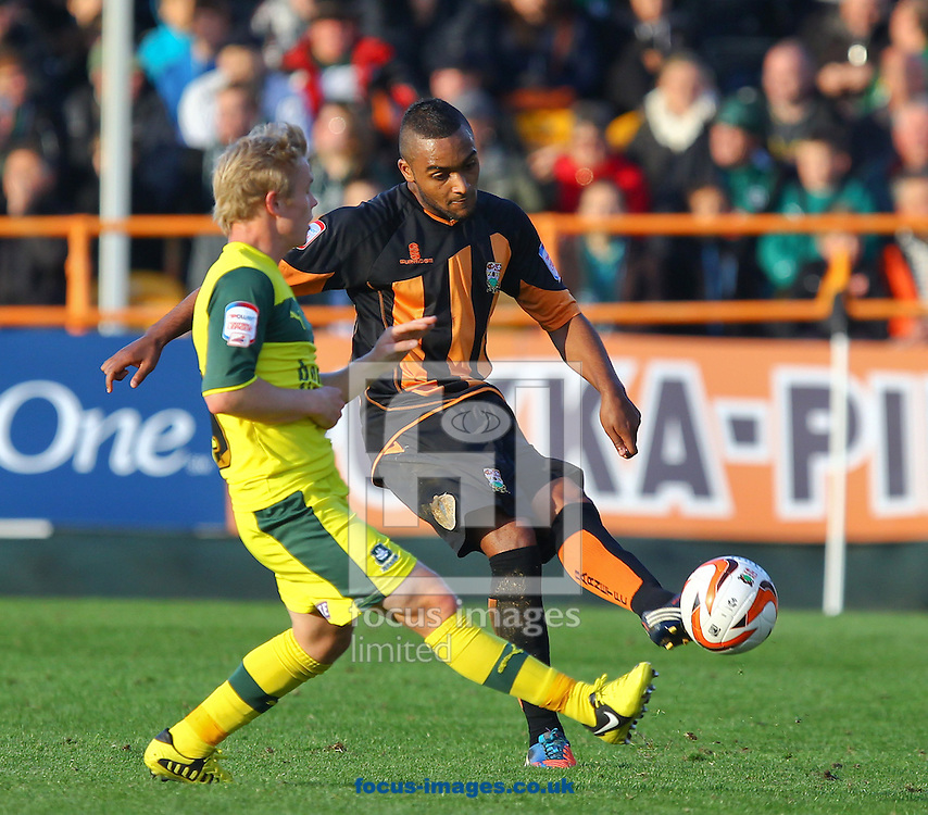 Picture by John  Rainford/Focus Images Ltd +44 7506 538356.13/10/2012.Jordan Brown of Barnet and Joe Lennox of Plymouth Argyle during the npower League 2 match at Underhill Stadium, London.
