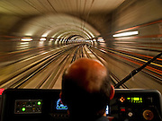 """Ride in the driver's cab of the first Prague subway at 4:32 in the morning leaving from station """"Cerny Most"""" in the east end of line """"B"""" to """"Florenc"""" in the center of the city."""