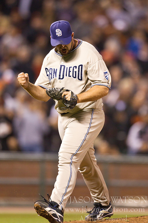May 12, 2010; San Francisco, CA, USA;  San Diego Padres relief pitcher Heath Bell (21) celebrates after striking out San Francisco Giants center fielder Andres Torres (not pictured) to end the game at AT&T Park.  San Diego defeated San Francisco 5-2.