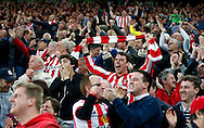 Sunderland fans in shock and pure elation after scoring a third goal during the Barclays Premier League match at the Stadium Of Light, Sunderland<br /> Picture by Simon Moore/Focus Images Ltd 07807 671782<br /> 11/05/2016