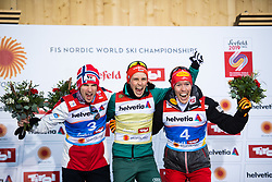 February 22, 2019 - Seefeld In Tirol, AUSTRIA - 190222 Silver medalist Jan Schmid of Norway, gold medalist Eric Frenzel of Germany and bronze medalist Franz-Josef Rehrl of Austria celebrate on the podium after competing in menÃ•s nordic combined 10 km Individual Gundersen during the FIS Nordic World Ski Championships on February 22, 2019 in Seefeld in Tirol..Photo: Joel Marklund / BILDBYRN / kod JM / 87882 (Credit Image: © Joel Marklund/Bildbyran via ZUMA Press)