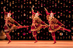 Scottish Ballet opens its tour of the festive ballet, The Nutcracker, in Edinburgh on 9 December until 30th January before it moves to  Glasgow, Aberdeen, Inverness and Newcastle.<br /> <br /> Pictured: Barnaby Rook Bishop, Thomas Edwards and Simon Schilgen in the Russian Dance