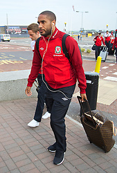 05.09.2013, Cardiff Airport, Cardiff, ENG, FIFA WM Qualifikation, Mazedonien vs Wales, Abreise Wales, im Bild Wales' captain Ashley Williams during departure of Team Wales in front of the FIFA World Cup Qualifier Match between Macedonia and Wales at the Cardiff Airport, Cardiff, England on 2013/09/05. EXPA Pictures © 2013, PhotoCredit: EXPA/ Propagandaphoto/ Michael Campanella<br /> <br /> ***** ATTENTION - OUT OF ENG, GBR, UK *****