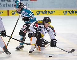 07.02.2016, Keine Sorgen Eisarena, Linz, AUT, EBEL, EHC Liwest Black Wings Linz vs Dornbirner Eishockey Club, Platzierungsrunde,im Bild Daniel Oberkofler (EHC Liwest Black Wings Linz) und Dustin Sylvester (Dornbirner Eishockey Club) // during the Erste Bank Icehockey League 51th round match - placement round between EHC Liwest Black Wings Linz and Dornbirner Eishockey Club at the Keine Sorgen Icearena, Linz, Austria on 2016/02/07. EXPA Pictures © 2016, PhotoCredit: EXPA/ Reinhard Eisenbauer