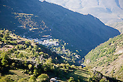 Village of Pampaneria, High Alpujarras, Sierra Nevada, Granada Province, Spain whitewashed