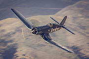 The US-built Corsair had a reputation for high-performance dog-fighting, with a reported 11:1 success ratio against Japanese fighter planes in the South Pacific in WWII.  Warbirds over Wanaka 2016, New Zealand