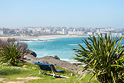 SANTANDER, SPAIN - April 18 2018 - Daytime view of Santander seafront from Magdalena Peninsula, Cantabria, Northern Spain, Europe.
