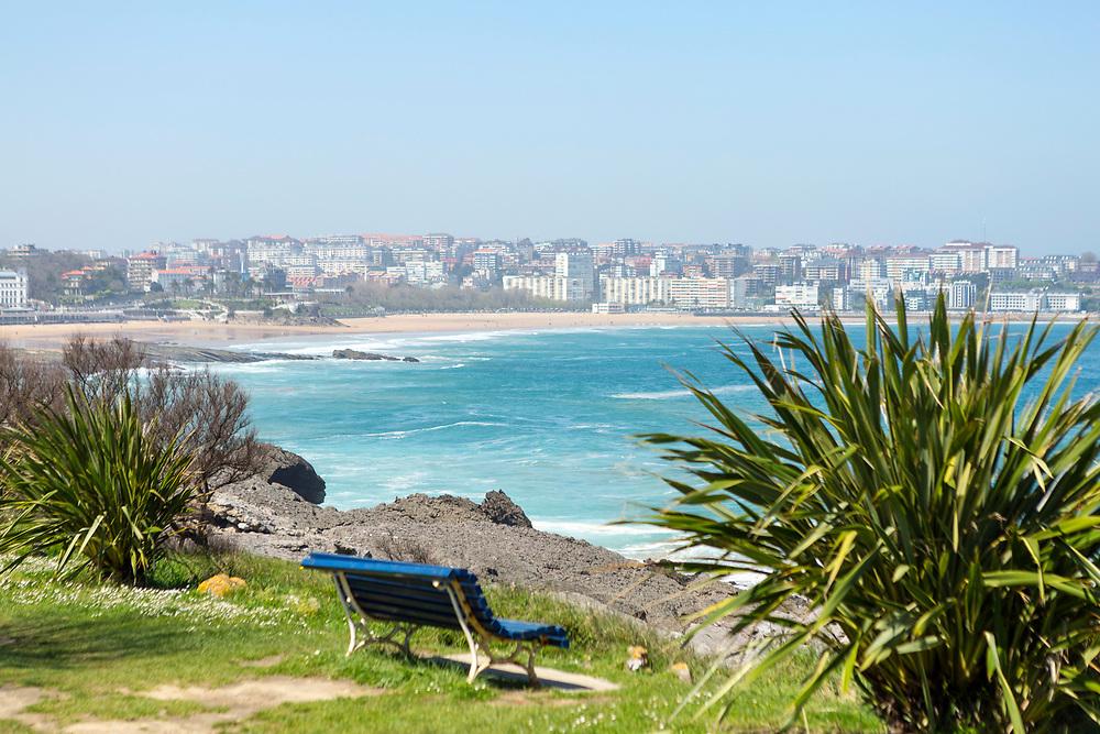 SANTANDER, SPAIN - April 18 2018 - Daytime view of Santander seafront from Magdalena Peninsula, Cantabria, Northern Spain, Europe.