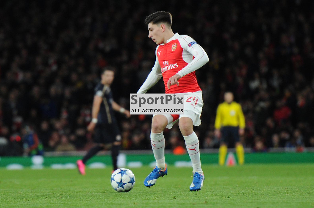 Arsenals Hector Bellerin in action during the Arsenal v Dinamo Zagreb game in the UEFA Champions League on the 24th November 2015 at the Emirates Stadium.