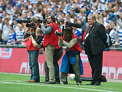 LONDON, ENGLAND - Saturday, May 30, 2011: Photographers watched over by Football DataCo's Derek Johnson during the Football League Championship Play-Off Final match at Wembley Stadium. (Photo by David Rawcliffe/Propaganda)