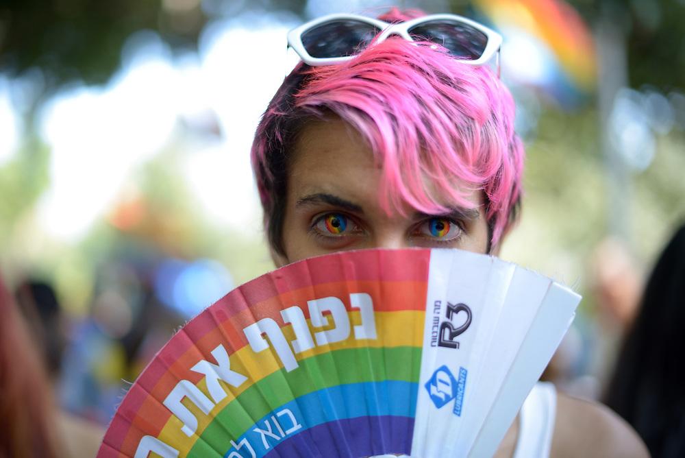 Tel Aviv, Israel - June 13, 2014: A member of the gay comminuty take part in the Annual Gay Pride Parade in Tel Aviv on June 13, 2014. More than 100,000 people took part in the Annual Gay Pride Parade in Tel Aviv. Photo by Gili Yaari