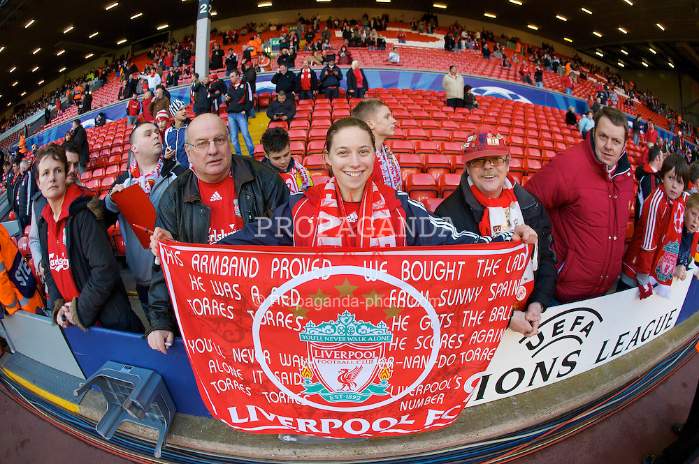 LIVERPOOL, ENGLAND - Tuesday, April 8, 2008: Liverpool's fans with a banner saluting kop hero Fernando Torres, before the UEFA Champions League Quarter-Final 2nd Leg match at Anfield. (Photo by David Rawcliffe/Propaganda)