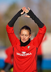 SAINT PETERSBURG, RUSSIA - Monday, October 23, 2017: Wales' Kayleigh Green during a training session at the Petrovsky Minor Sport Arena ahead of the FIFA Women's World Cup 2019 Qualifying Group 1 match between Russia and Wales. (Pic by David Rawcliffe/Propaganda)
