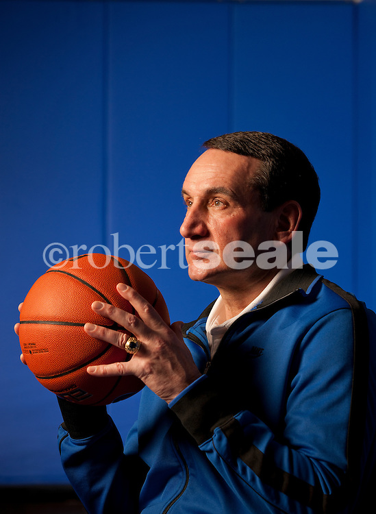 Duke Head Basketball Coach Mike Krzyzewski in the Duke practice facility in Durham, North Carolina on Monday, Jan. 24, 2011.  ©2011 Robert Seale